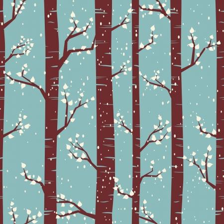 januar: Nahtlose Fliesen Muster mit Birken unter dem Schnee