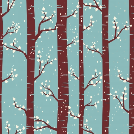 Seamless tiling pattern with birches under the snowfall  Vector