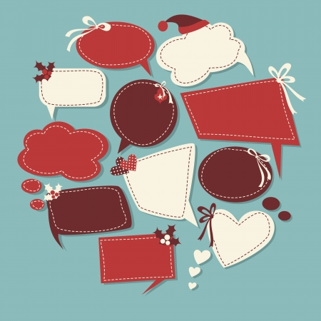 A set of cute speech bubbles with Christmas decoration  Vector