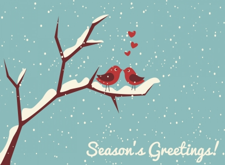Illustration of two cute birds in love at winter time