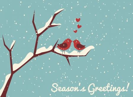 Ilustración de dos pájaros lindos en amor en tiempo de invierno