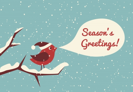 snow scene: Illustration of a cute bird in a winter forest celebrating Christmas