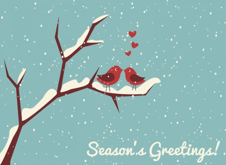 styczeń: Ilustracja dwóch cute ptaków w miłości w zimie