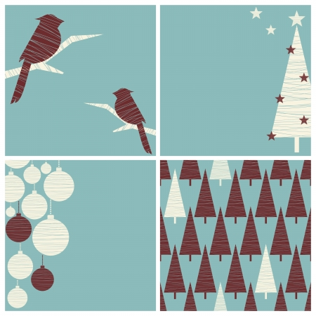 birch tree: A set of Christmas images with copy space and one seamless pattern