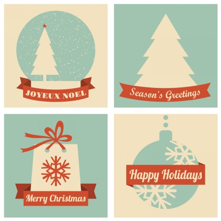 A set of four Christmas greeting cards in retro style  Vector