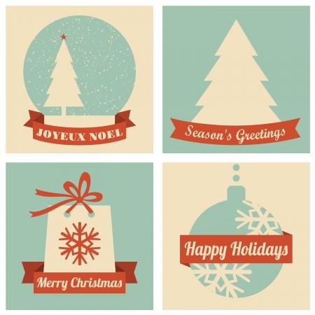 Ein Satz von vier Weihnachtskarten im Retro-Stil Vektorgrafik