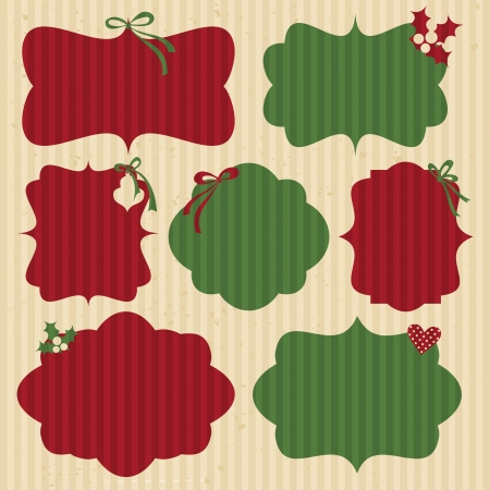 A set of Christmas cardboard labels in traditional red and green  Vector