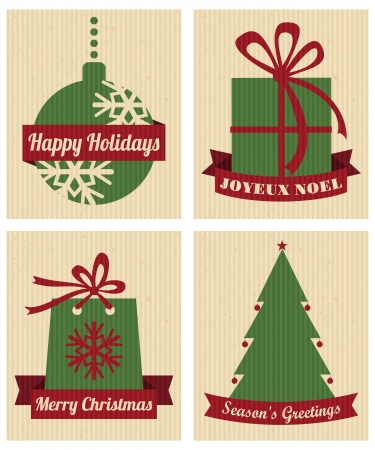 A set of four Christmas designs in traditional red and green against cardboard background  Vector