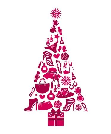 wintermode: Illustration eines Weihnachtsbaumes aus verschiedenen weiblichen Modeartikel