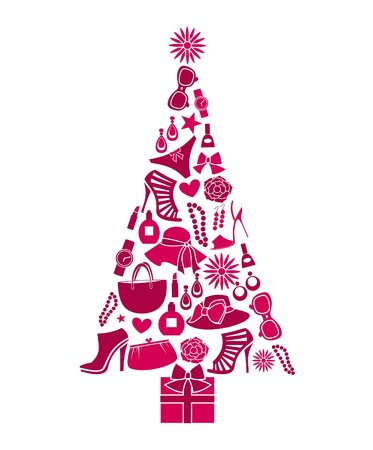 Illustration of a Christmas tree made from various female fashion items