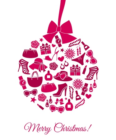 shoe sale: Ilustraci�n de una chucher�a de la Navidad hecha de diversos art�culos de moda femenina