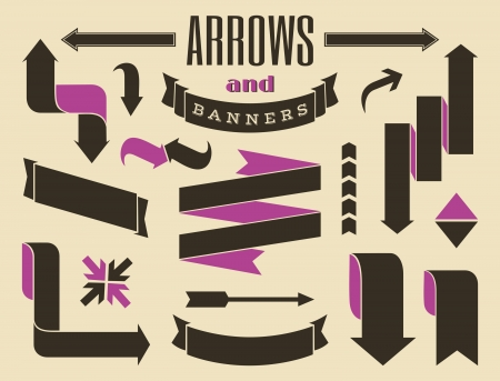 A set of retro style banners and arrows   Vector