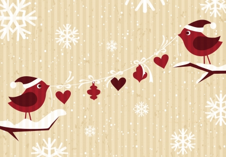 Christmas card design with cute birds and snowflakes against cardboard background  Vector