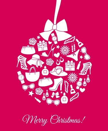 high heels shoes: Illustration of a Christmas bauble made from various female fashion items