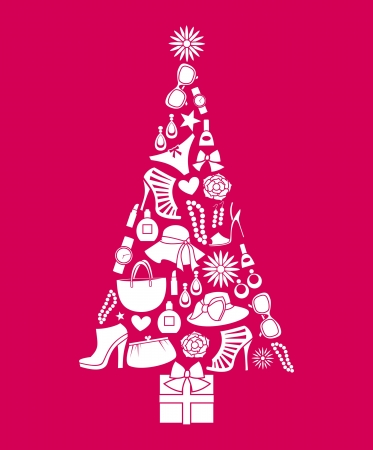 Illustration of a Christmas tree made from various female fashion items  Vector