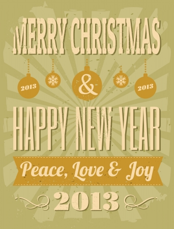 Retro style Christmas greeting card  Vector