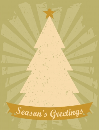 Retro style greeting card with Christmas tree and a banner  Stock Vector - 16667053