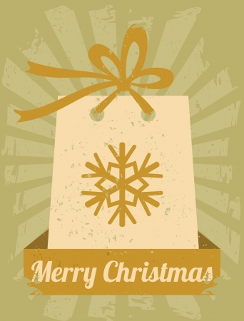 Retro style greeting card with Christmas present and a banner Stock Vector - 16689171