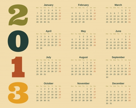 Calendar design for 2013  Stock Vector - 16915030