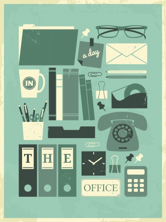 old envelope: Retro poster with office related items