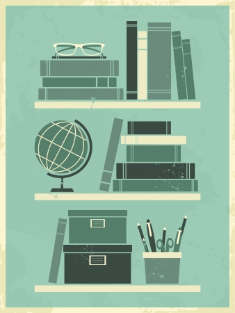 books on shelf: Retro poster with office related items