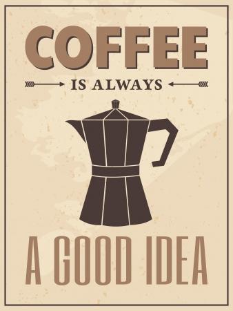 coffee maker: P�ster de estilo vintage con una cafetera y texto