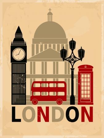 londres autobus: Cartel estilo retro con s�mbolos y monumentos de Londres