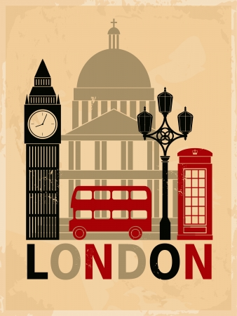 church building: Retro style poster with London symbols and landmarks  Illustration