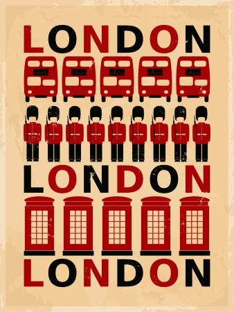 Retro style poster with London symbols and landmarks  Vector