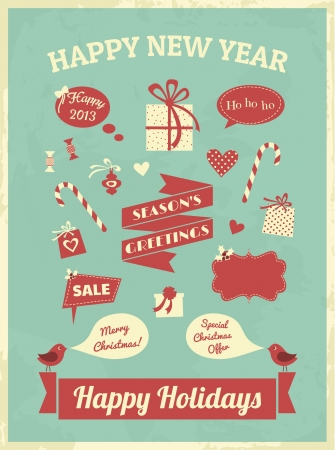 Vintage style design elements for Christmas  Vector