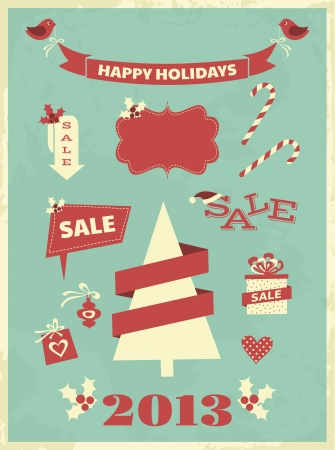 Vintage style design elements for Christmas Stock Vector - 16915020