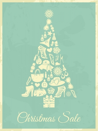 Vintage Christmas tree made from various female fashion accessories  Vector