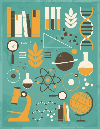 A set of science and education icons in vintage style  Vector