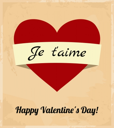 Valentine s Day Retro Greeting Card Vector