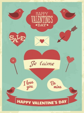 Valentines Day Retro Collection Stock Vector - 17240006