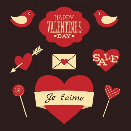 valentines card: Valentines Day Retro Collection Illustration