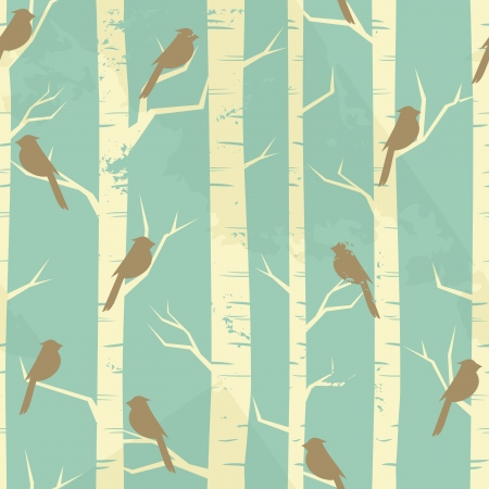 birch forest: Seamless pattern with birches and birds in vintage style. Illustration