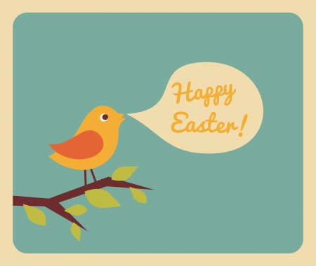 Retro style design for Easter greeting card. Vector