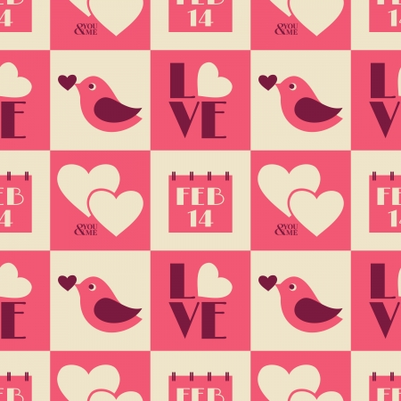 Seamless Valentine's Day pattern in vintage style. Stock Vector - 17688915