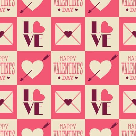 Patrón Seamless Día de San Valentín en estilo vintage.