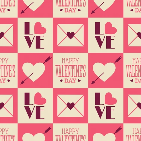 feb: Seamless Valentines Day pattern in vintage style.