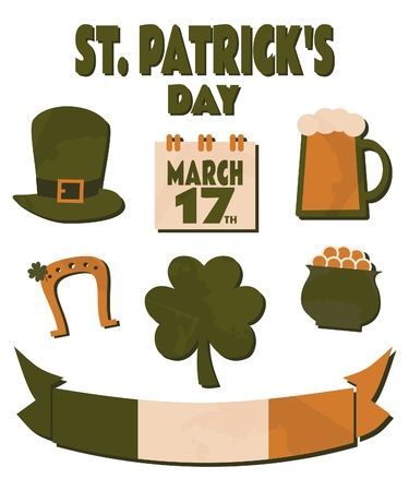 A collection of design elements for St. Patrick's Day. Vector