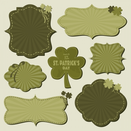 A set of cute St. Patrick's Day themed labels in green. Vector