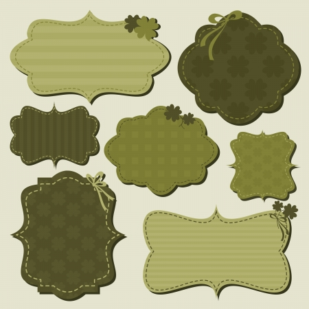 A set of cute St. Patricks Day themed labels in green. Vector