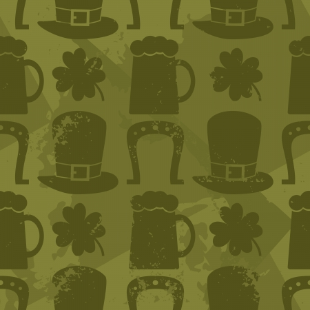 Grungy St. Patricks Day seamless pattern. Vector