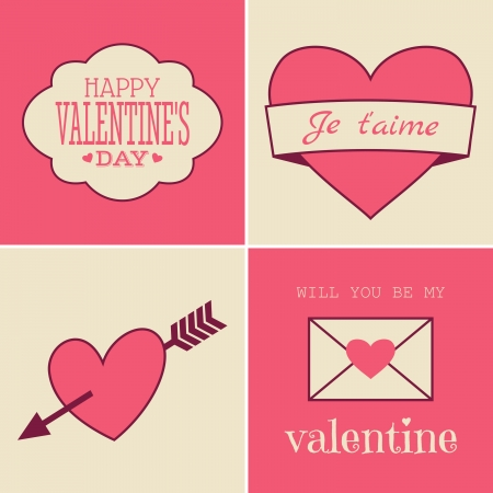 14 february: A set of four vintage style cards for Valentines Day.