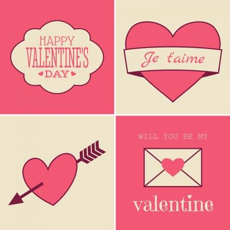 sobres de carta: Un conjunto de cuatro cartas de estilo de la vendimia para el Día de San Valentín.