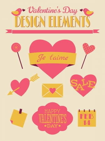 14th: A set of Valentines Day design elements in vintage style.