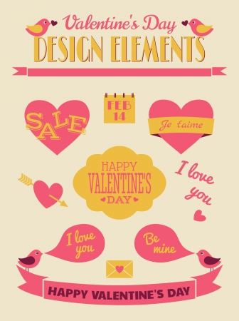 february 14th: A set of Valentines Day design elements in vintage style.