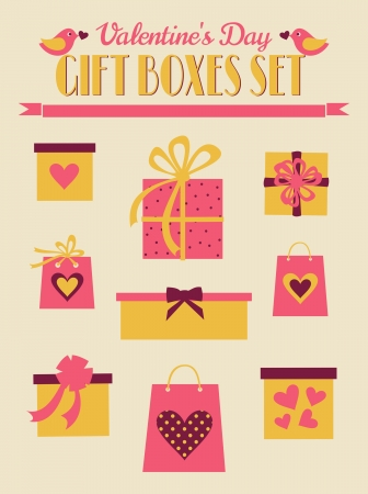 A set of Valentine's Day design elements in vintage style. Vector